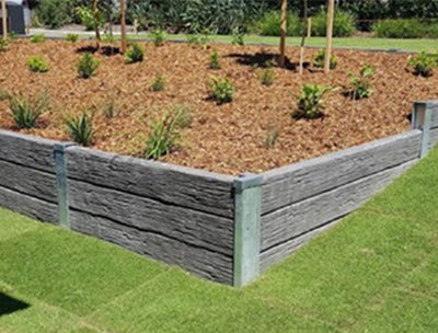 QPro Concrete Sleepers Timber Look Storm Grey 2000x200x75mm