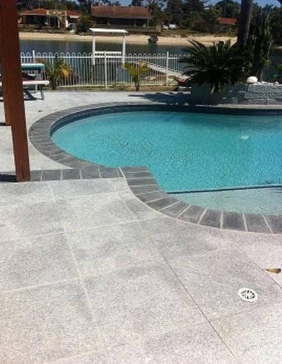 Silver Granite 600x400x20mm Bullnose Tile