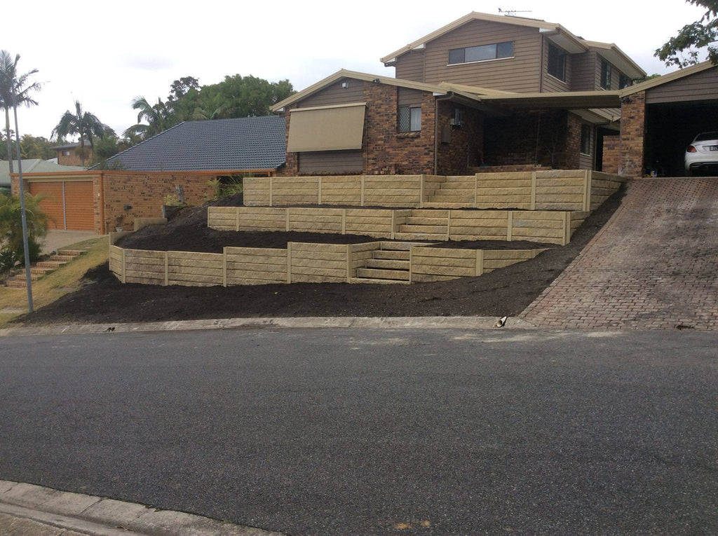 Austral Masonry Sandstone Natural Effect 1580x200x75mm Sleeper Retaining Wall