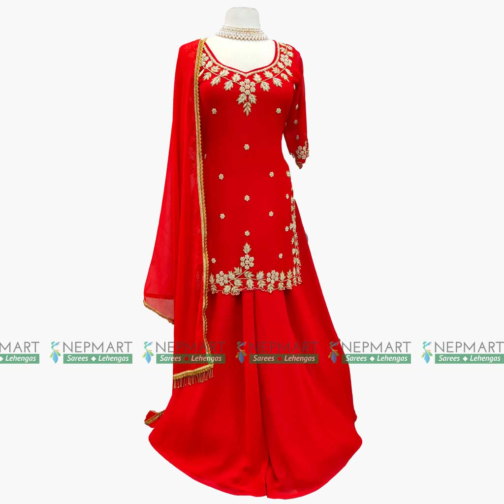 Red Handwork Kurtha