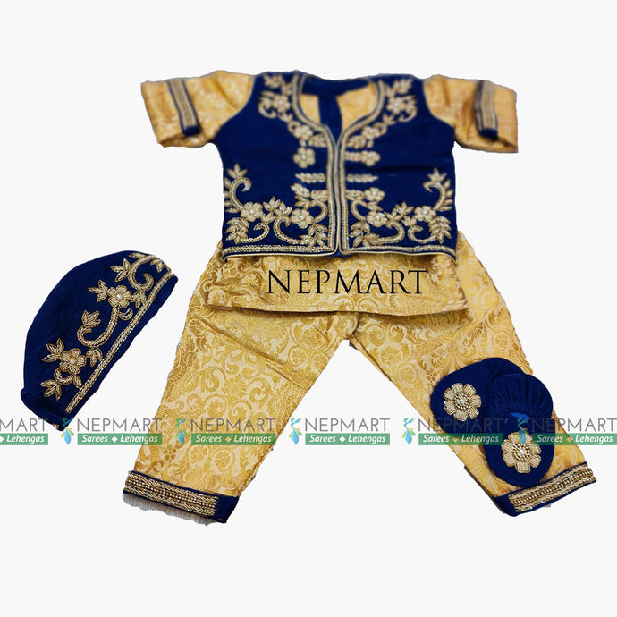 Royal Blue Velvet Pasni Set