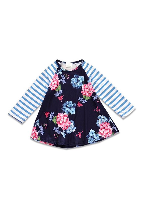 Girls Blue Floral and Striped A Line Shirt