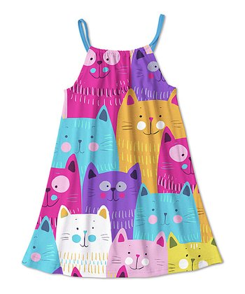 Girls Cat Dress - MEOW!