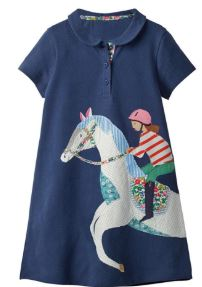 Girls Collared Dress with Horse