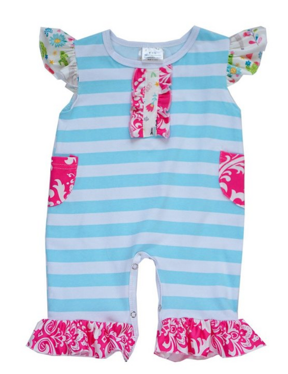 Blue and White Stripe Ruffle Baby Romper