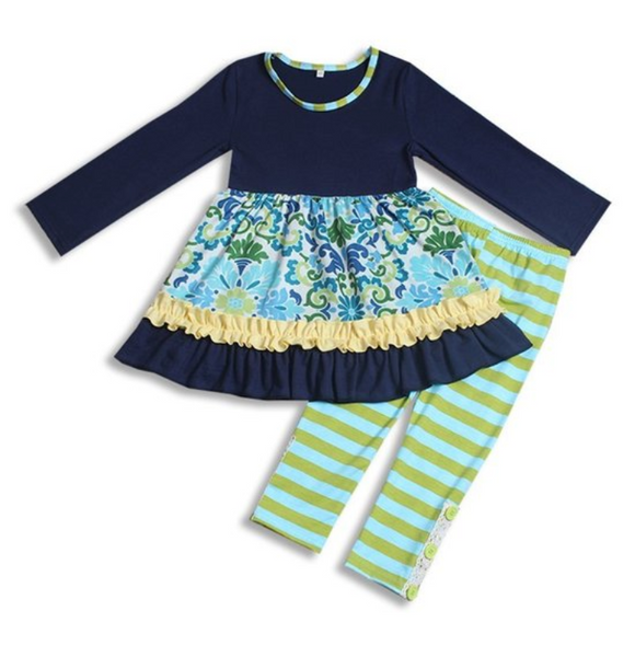 Blue and Green Ruffles Girls Outfit