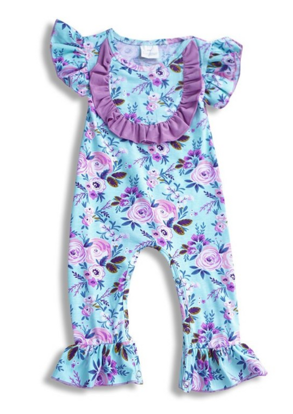 Blue and Purple Floral Baby Romper