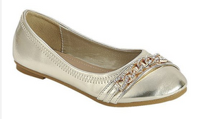 Girls Gold Ballet Flats