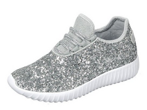 Girls Silver Sparkle Sneakers