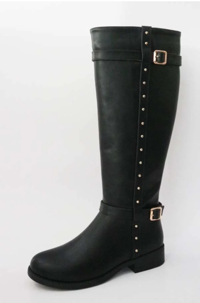 Womens studded boots in black and brown