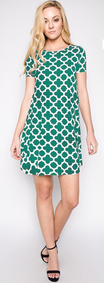 Womens Chevron  Print A-Line Dress in Emerald Green or Black