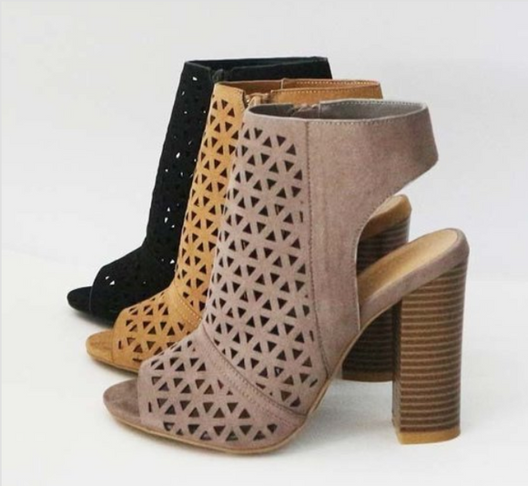 Womens Taupe Cutout Booties