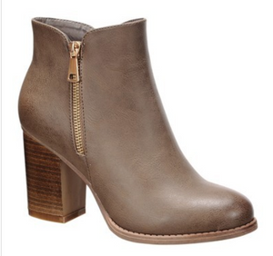 Womens Heeled Booties in Taupe and Black