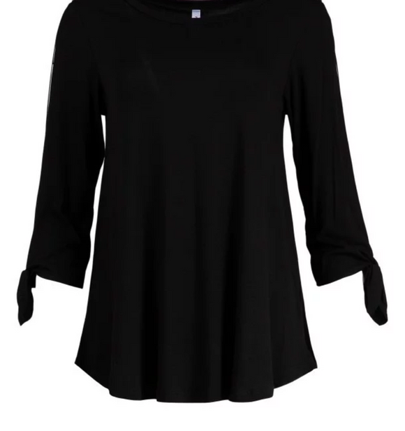 Womens Black Cutout Sleeve Tie Top