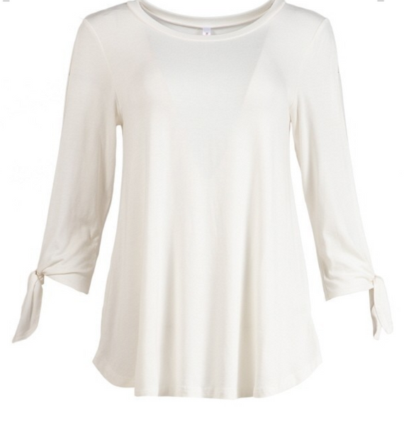 Womens Ivory Cutout Sleeve Tie Top