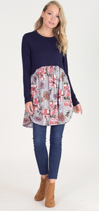 Womens Floral Tunic in Navy