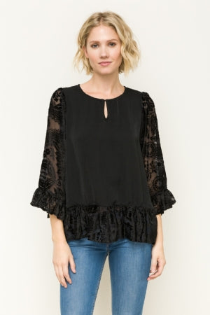 Women's Shirt - Blouse with Black Lace