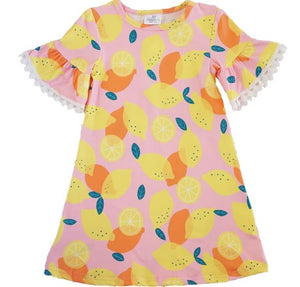 Girls Dress - Lemon Print with Bell Sleeves and Pom Poms