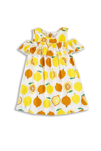 Girls Dress - Lemons with Cold Shoulders
