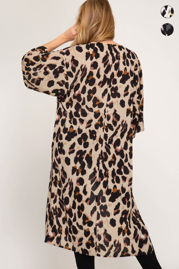 Women's - Half Sleeve Leopard Cover Up