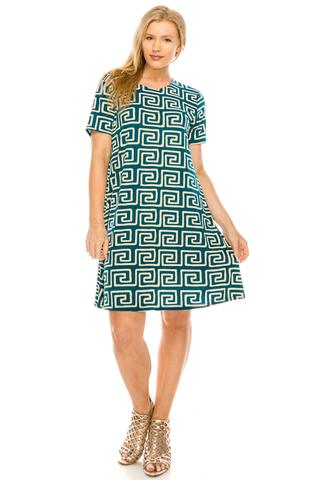 Women's Geometric Teal Dress