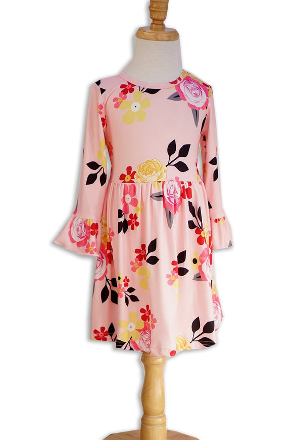 Girls Dress - Pink Floral with Bell Sleeves