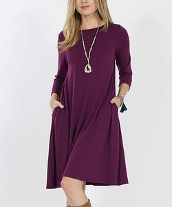 Straight-Hem Scoop Neck Three-Quarter Sleeve Pocket Tunic Dress, In 4 colors WITH POCKETS