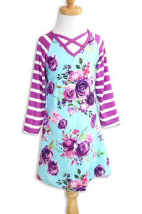 Girls Dress - Purple Floral and Stripe