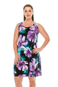 Women's Sleeveless Dress - purple multi floral