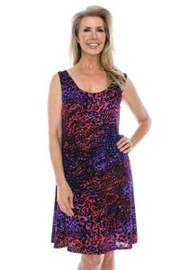 Women's Sleeveless Dress - red and purple print