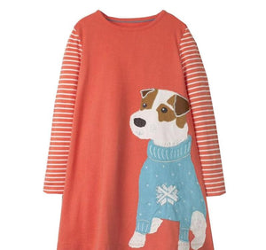 Bright Coral Tunic Dress with Winter Dog