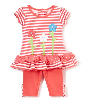 Orange Stripe Flowers Ruffle-Hem Tunic & Capri Leggings - Infant
