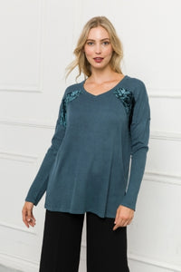 Women's Shirt - Teal Waffle Style with Crushed Velvet Embellishment