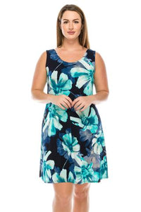 Women's Sleeveless Dress - turquoise multi floral