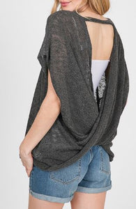 Open Back/Twist Back Sweater -Charcoal