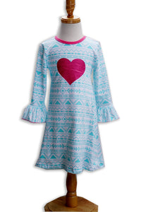 Girls Dress - Valentine's Day Blue and Pink