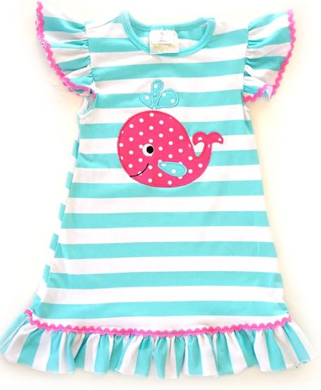 Girls Dress - Whale with Ruffles