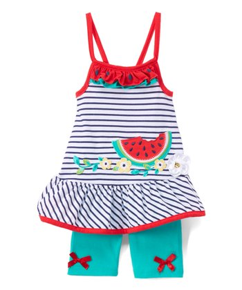 White Watermelon Stripe Ruffle-Hem Dress & Green Shorts - Toddler