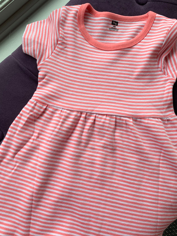 Baby Pink and White Striped Dress