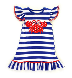 Girls Dress - red white and blue with crab