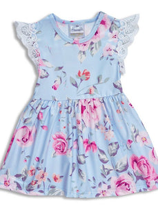 Girls Dress - sky blue floral