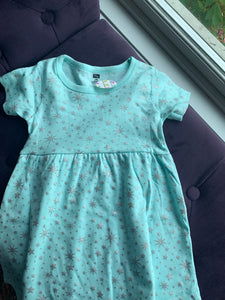 Baby Starry Dress - Light Green with Silver Stars