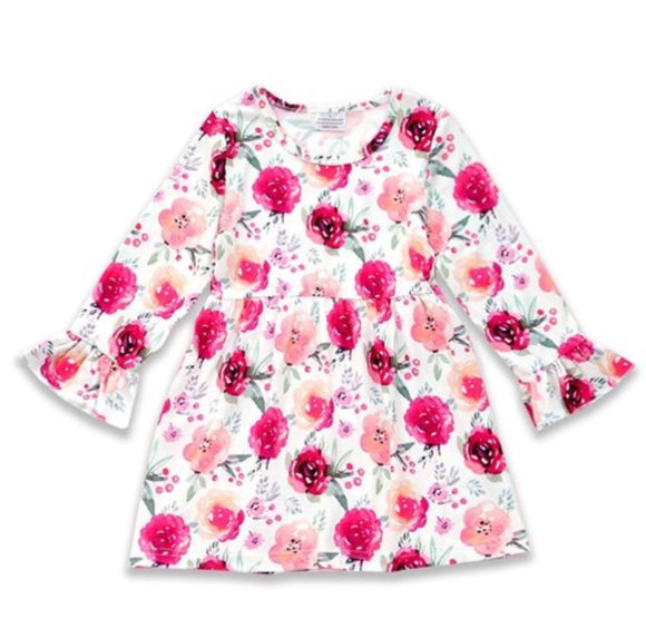 Girls floral dress with ruffle sleeve