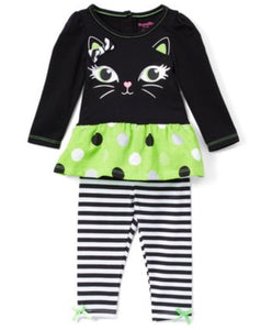 Halloween black and green Cat set