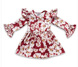 Girls floral dress with ruffle shoulder and cuff