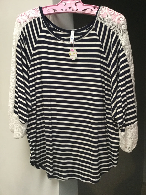 Navy striped shirt with lace sleeves
