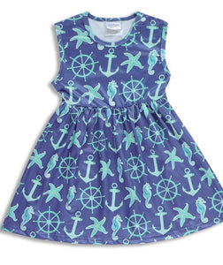 Girls Dress - blue and green nautical
