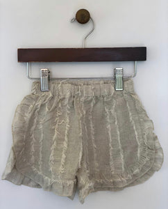 Linen ruffled shorts - in ivory/ivory and black/ivory