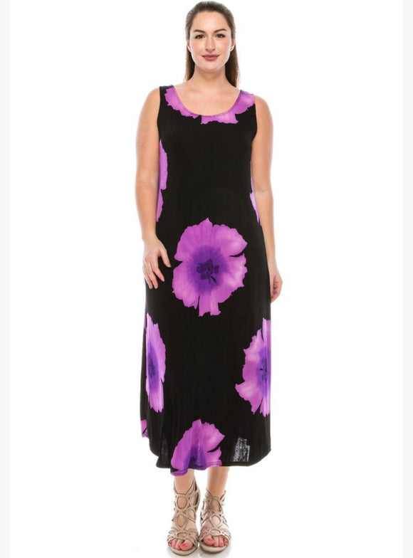 Long floral sleeveless dress, pink or purple