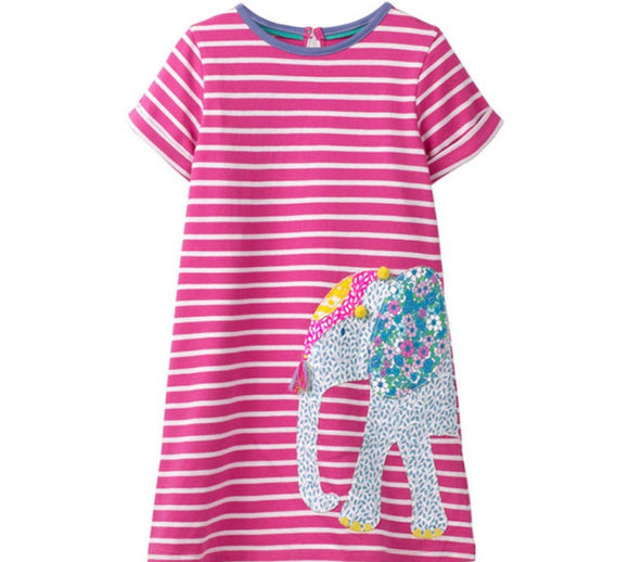 Girls pink striped dress with elephant